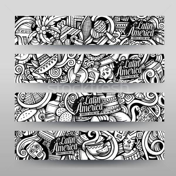 Graphics vector Latin American Doodle banners Stock photo © balabolka