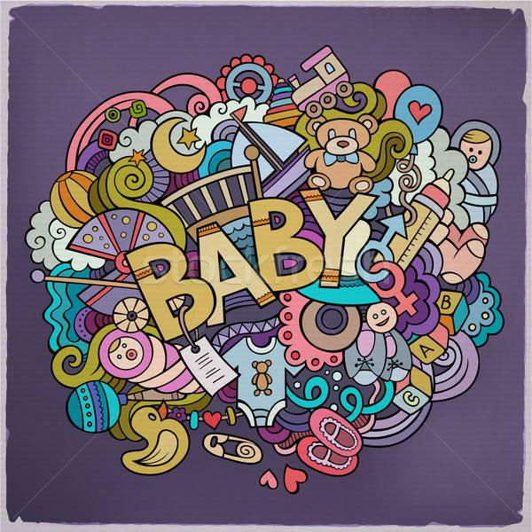 Foto stock: Desenho · animado · vetor · rabisco · bebê · ilustração