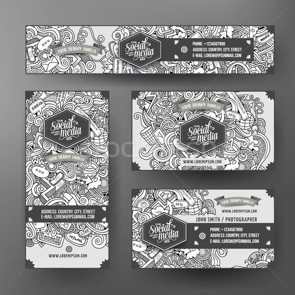 Corporate Identity templates set design doodles Social media theme Stock photo © balabolka