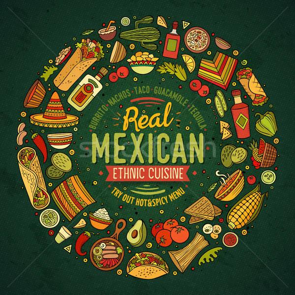 Ingesteld mexicaans eten cartoon doodle objecten symbolen Stockfoto © balabolka