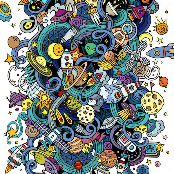 Cartoon hand-drawn doodles Space illustration Stock photo © balabolka