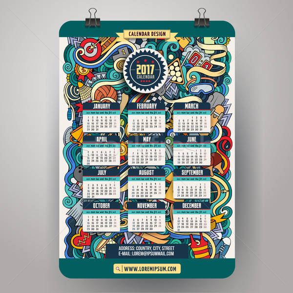 Desenho animado esportes ano calendário colorido Foto stock © balabolka