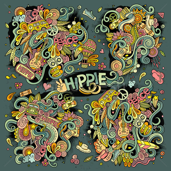 Colorful set of hippie doodles designs Stock photo © balabolka