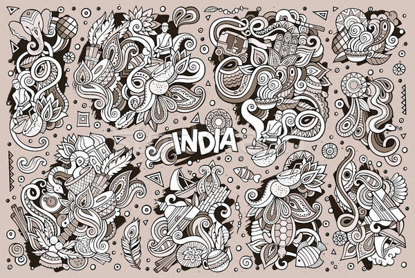 Vecteur doodle cartoon indian dessins Photo stock © balabolka