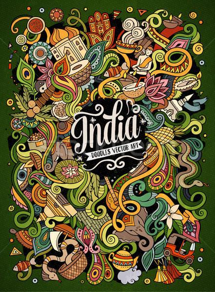 Karikatür sevimli karalamalar örnek renkli Stok fotoğraf © balabolka