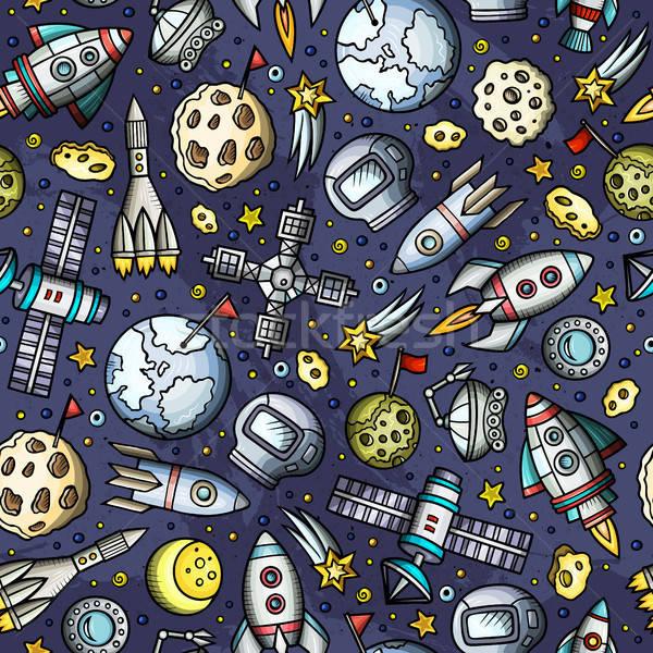 Cartoon ruimte planeten symbolen objecten Stockfoto © balabolka