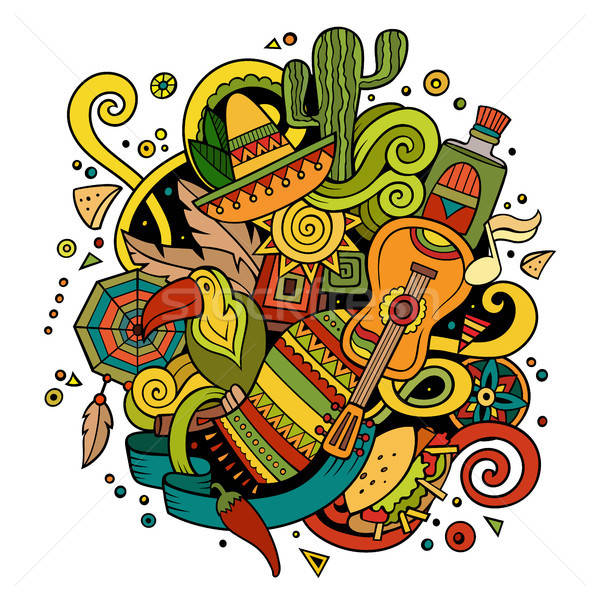 Cartoon hand-drawn doodles Latin American illustration Stock photo © balabolka