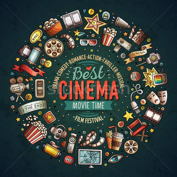 Conjunto cinema desenho animado rabisco objetos colorido Foto stock © balabolka