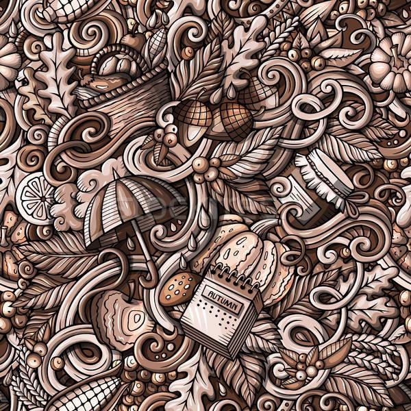 Desenho animado outono monocromático detalhado Foto stock © balabolka