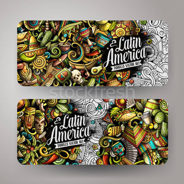 Cartoon vector doodles Latin America horizontal banners Stock photo © balabolka