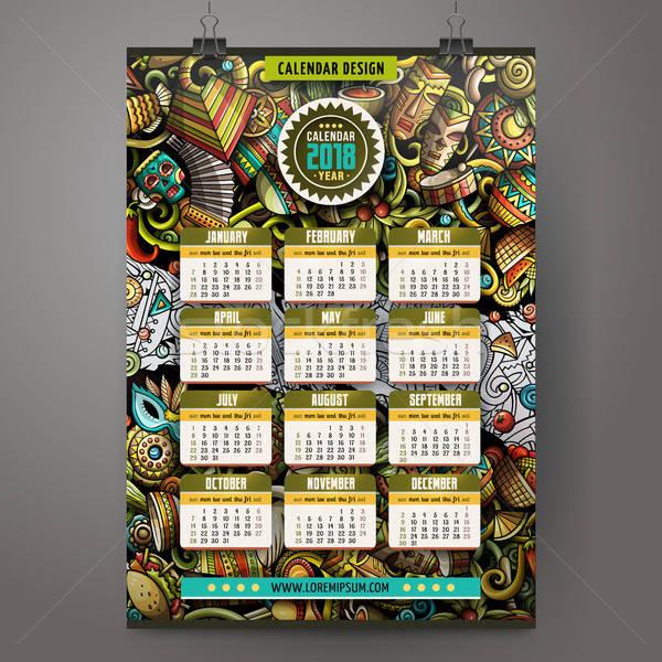 Cartoon colorful hand drawn doodles Latin America 2018 year calendar Stock photo © balabolka
