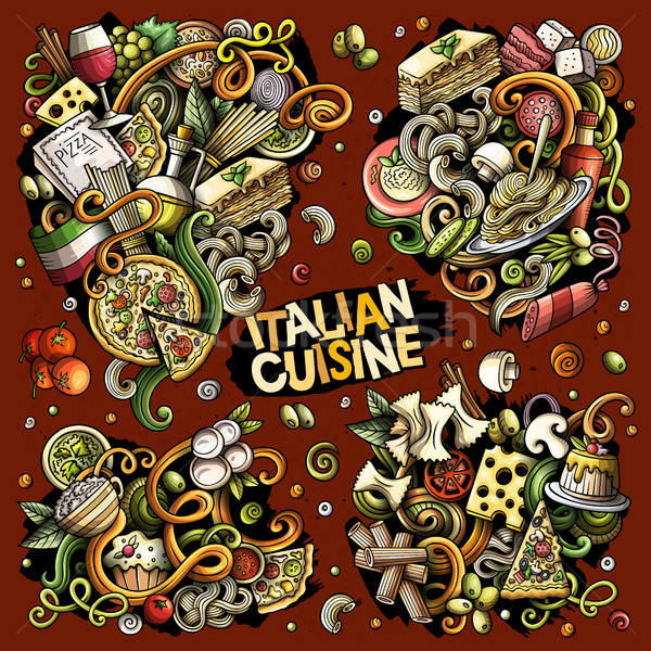 Colorful vector hand drawn doodles cartoon set of Italian food food combinations of objects and elem Stock photo © balabolka