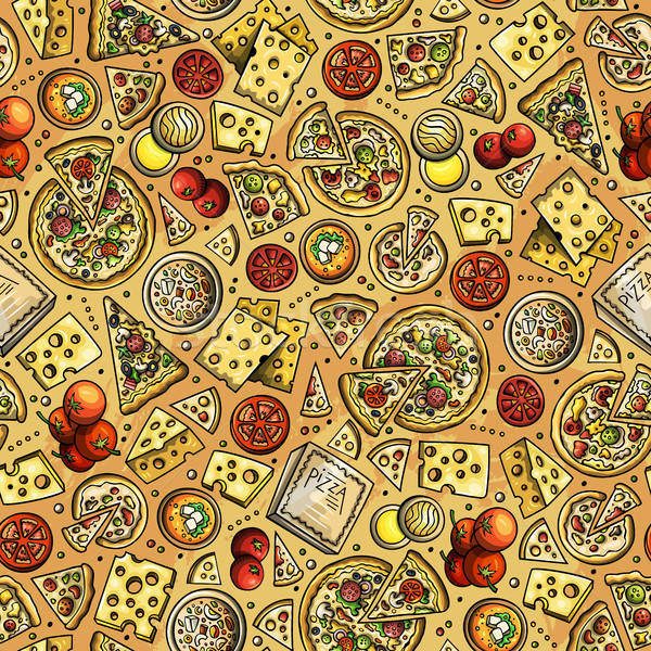 Stockfoto: Cartoon · cute · pizza · kleurrijk