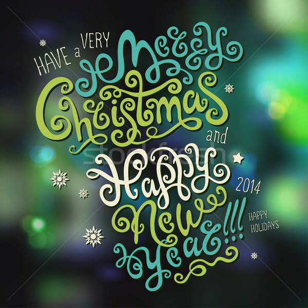 Merry Christmas and Happy New Year hand drawn lettering Stock photo © balabolka