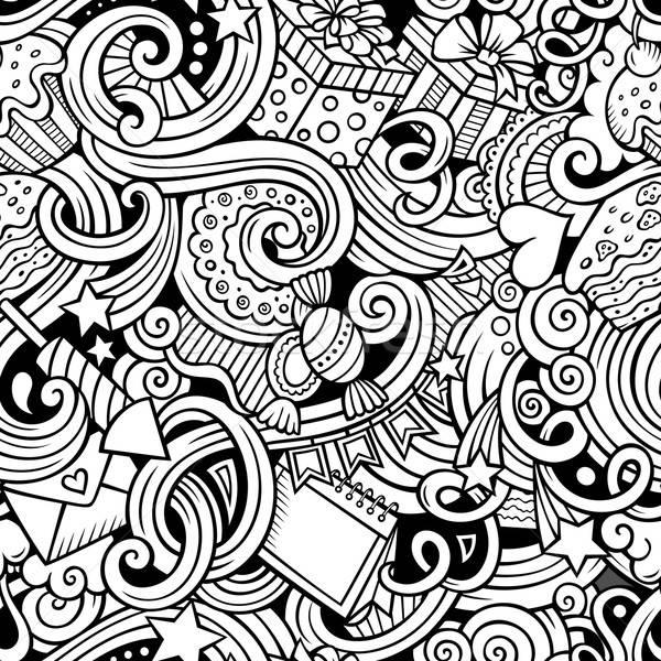 Cartoon hand-drawn doodles birthday theme seamless pattern Stock photo © balabolka