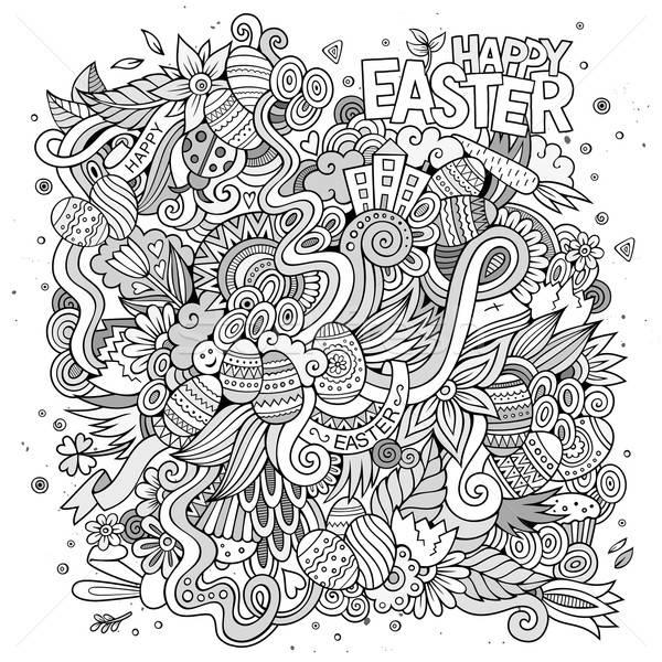 Páscoa vetor esboço desenho animado padrão Foto stock © balabolka