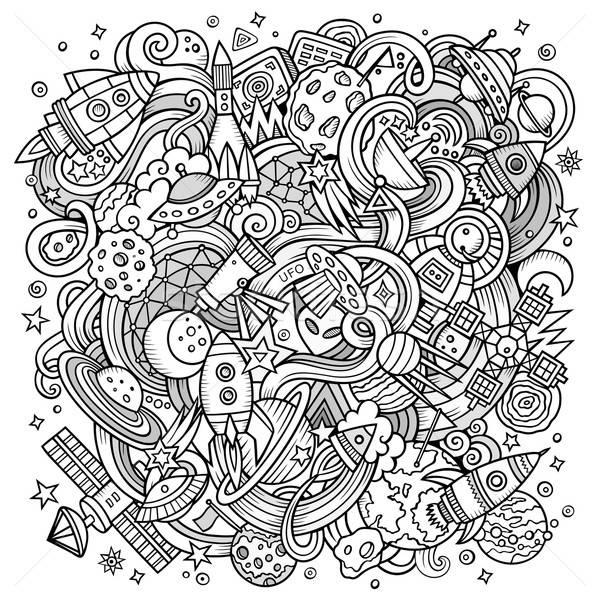 Foto stock: Desenho · animado · espaço · ilustração · linha · arte