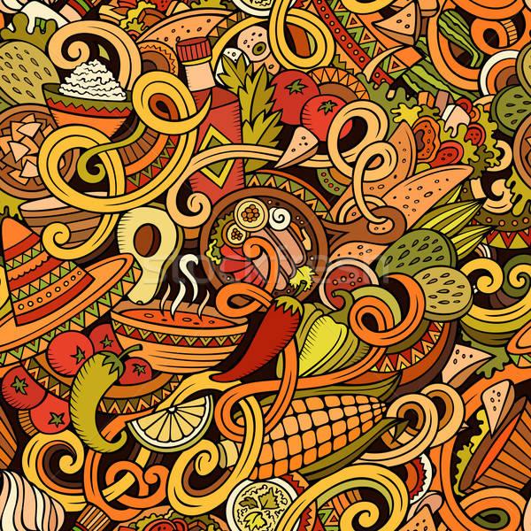 Cartoon cibo messicano scarabocchi cute Foto d'archivio © balabolka