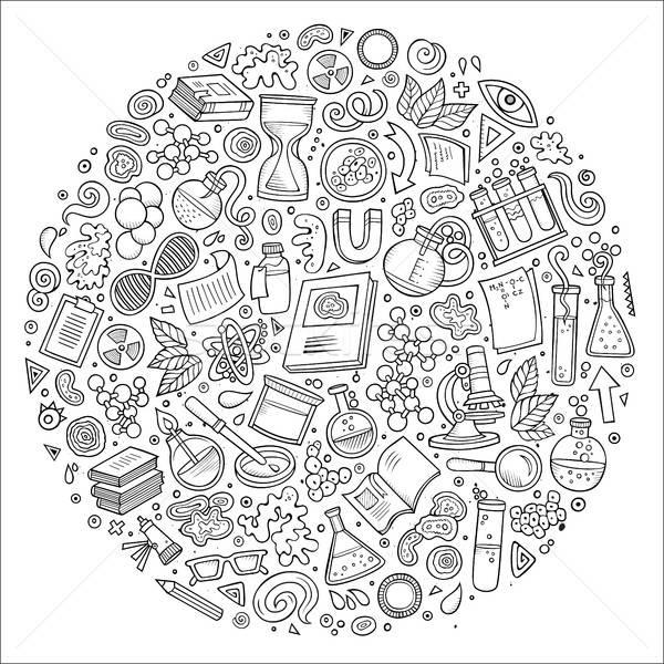 Szett tudomány rajz firka tárgyak vonal Stock fotó © balabolka