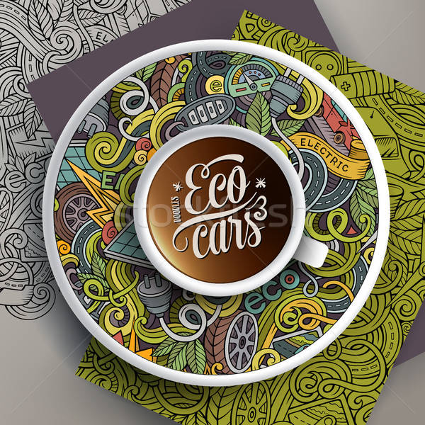 Cup of coffee and Electric cars doodles on a saucer, paper and background Stock photo © balabolka