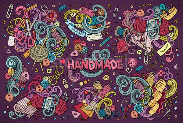 Doodle cartoon ingesteld handgemaakt object kleurrijk Stockfoto © balabolka