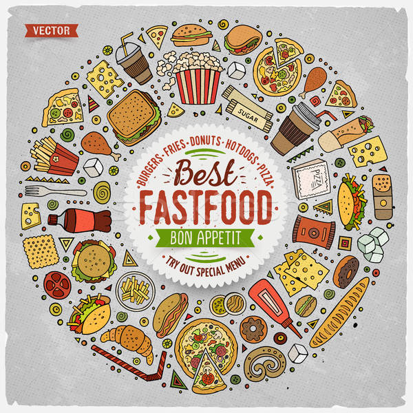 Conjunto fast-food desenho animado rabisco objetos símbolos Foto stock © balabolka