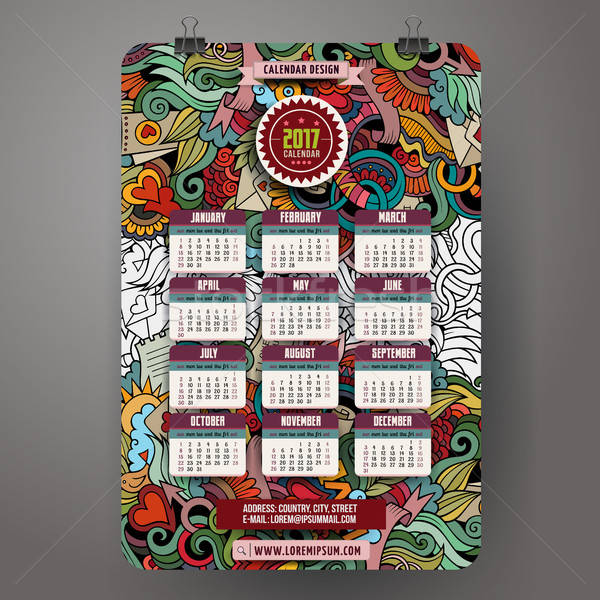 Doodles cartoon Love Calendar 2017 year design Stock photo © balabolka