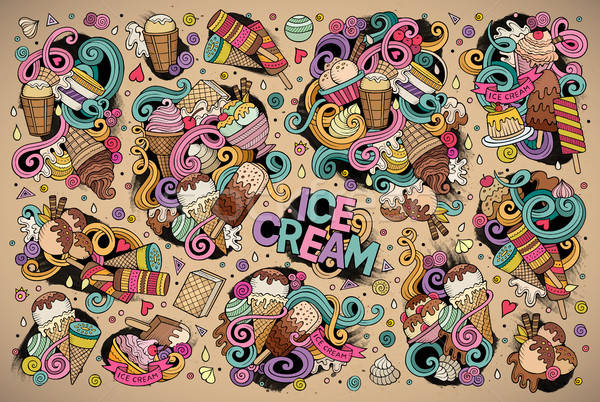 Colorful vector doodle cartoon set of ice-cream objects Stock photo © balabolka
