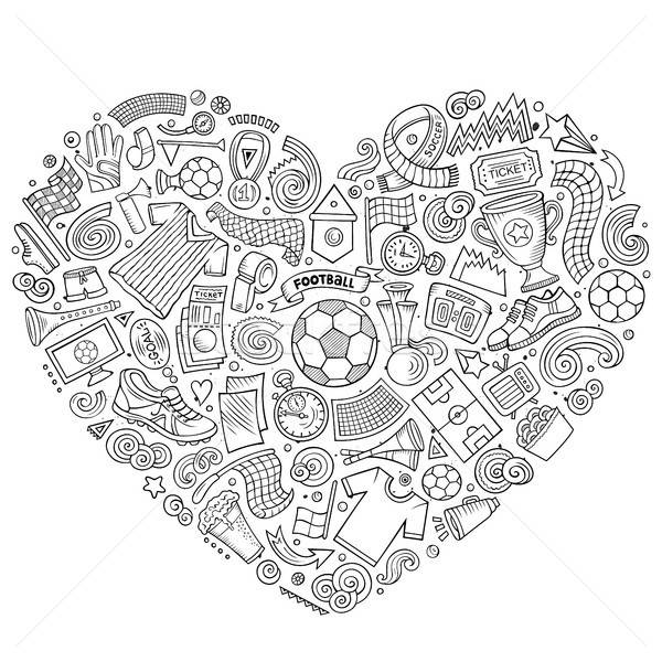 Set of vector cartoon doodle Football objects collected in a heart Stock photo © balabolka