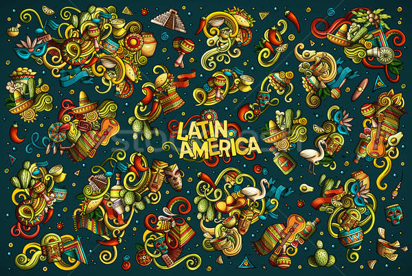 Vector set of Latin America combinations of objects and elements Stock photo © balabolka