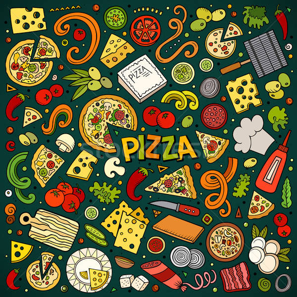 Stockfoto: Vector · cartoon · ingesteld · pizzeria · objecten · symbolen