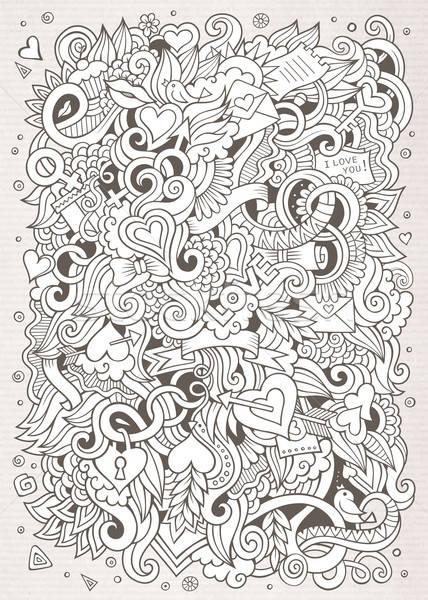 Cartoon vector hand-drawn Love Doodles. Sketchy design background Stock photo © balabolka