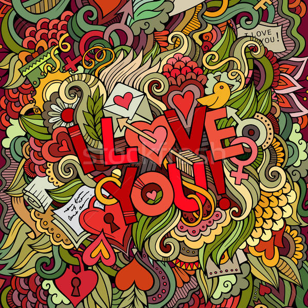 Love hand lettering and doodles elements background. Stock photo © balabolka