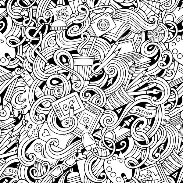 Cartoon hand-drawn doodles on the subject of Design seamless pattern Stock photo © balabolka