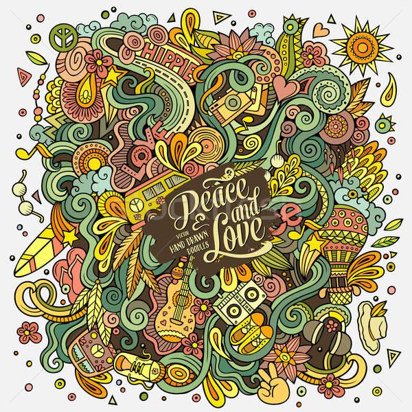 Cartoon scarabocchi hippie illustrazione colorato dettagliato Foto d'archivio © balabolka
