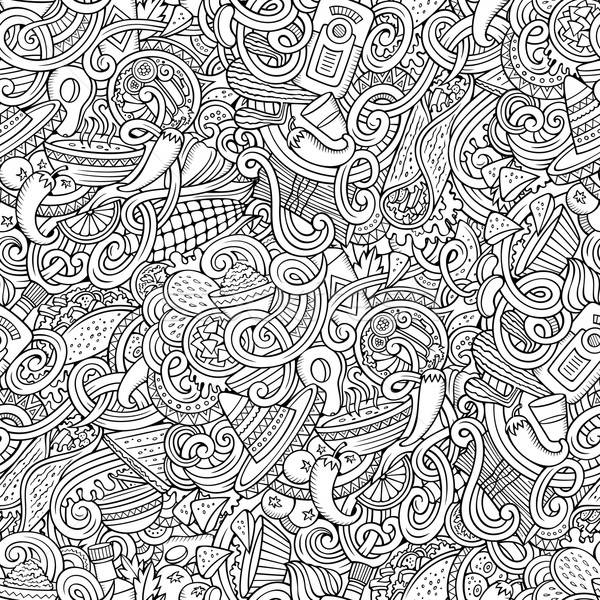 Rajz mexikói étel firkák végtelen minta aranyos kézzel rajzolt Stock fotó © balabolka