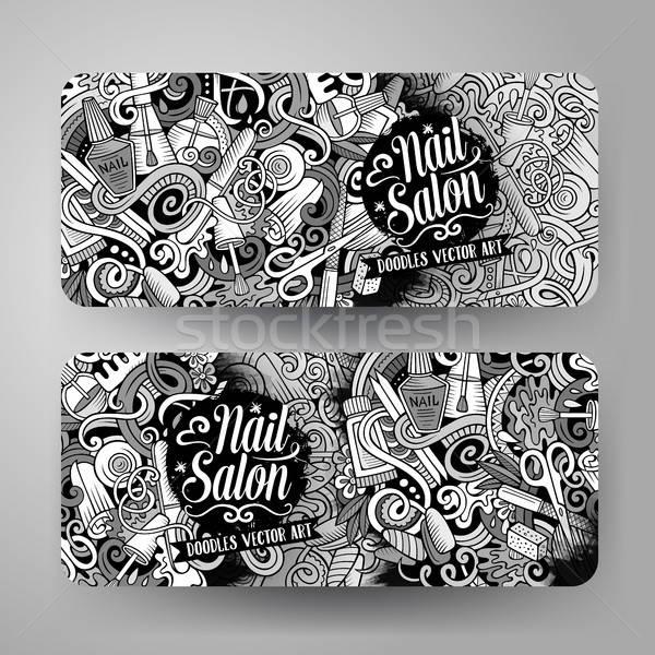 Stock photo: Cartoon cute vector doodles Nail salon banners