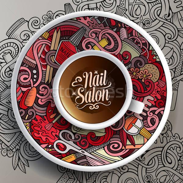 Csésze kávé manikűrös firkák csészealj papír Stock fotó © balabolka