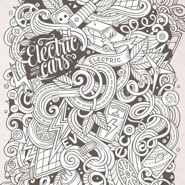 Foto stock: Desenho · animado · bonitinho · elétrico · carros · ilustração