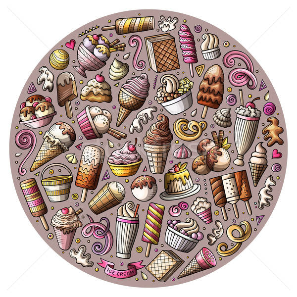Set of Ice Cream cartoon doodles objects Stock photo © balabolka