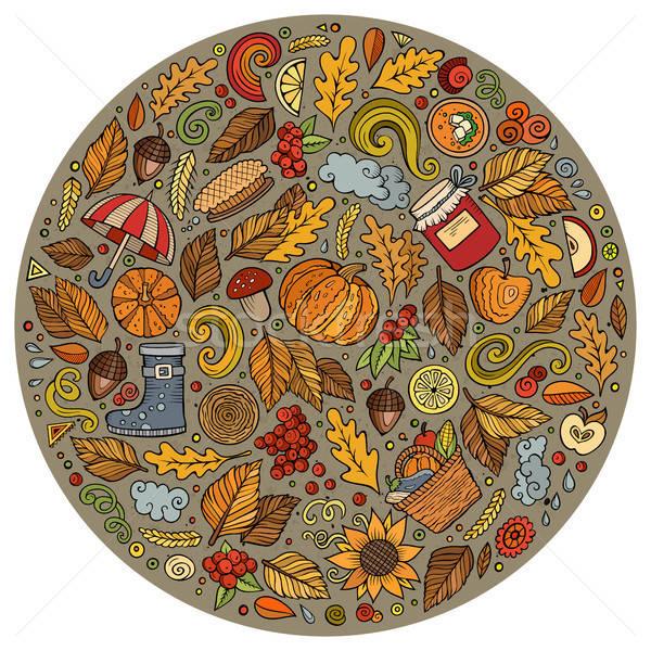 Outono desenho animado rabisco objetos símbolos colorido Foto stock © balabolka