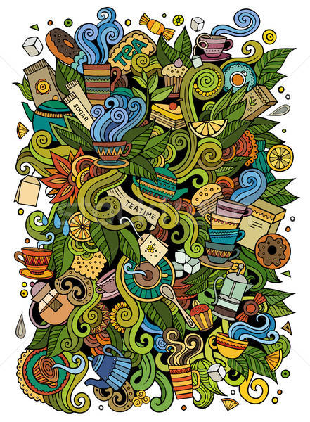 Cartoon cute doodles Tea time illustration Stock photo © balabolka