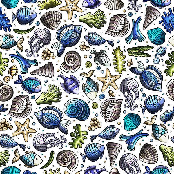 Rajz víz élet végtelen minta aranyos kézzel rajzolt Stock fotó © balabolka