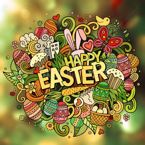 Rajz vektor kézzel rajzolt firka kellemes húsvétot illusztráció Stock fotó © balabolka
