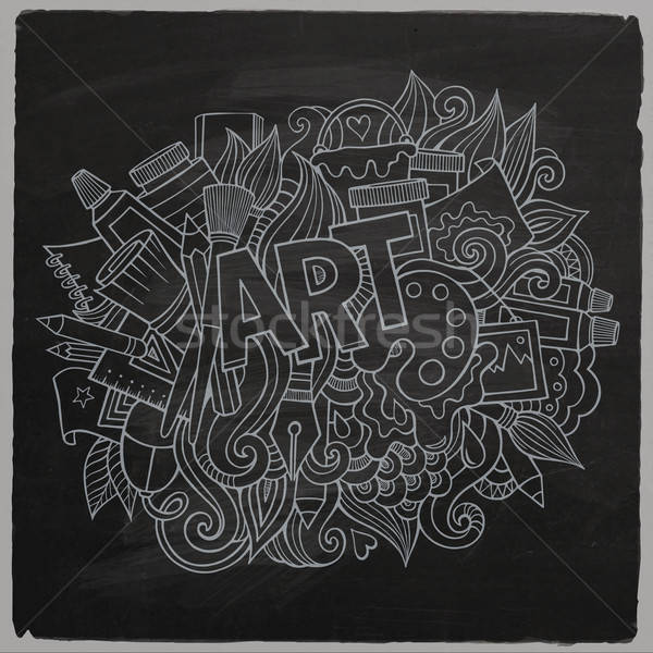 Art hand lettering and doodles elements. Stock photo © balabolka