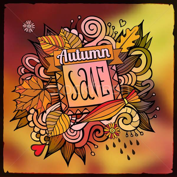 Vector decorative autumn sale blurred background Stock photo © balabolka