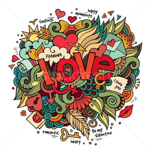 Amore mano scarabocchi elementi cartoon vettore Foto d'archivio © balabolka