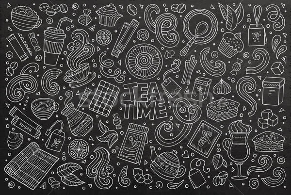 Stock photo: Vector doodle cartoon set of tea and coffe