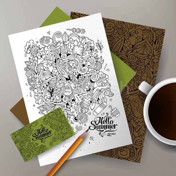 Cartoon vector hand-drawn camp doodle corporate identity Stock photo © balabolka