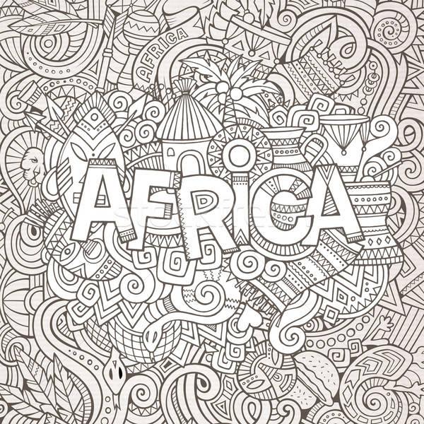 Cartoon cute doodles hand drawn african illustration. Stock photo © balabolka